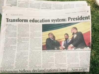 Newspaper article covering Mugabe's speech the day after